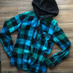💙🖤💙 Button Down Black hooded Top